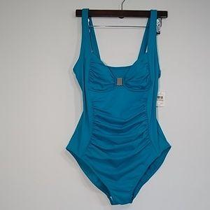 Calvin Klein one piece swimsuit acuablue sz 12